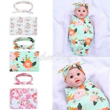 Newborn Baby Infant Floral Swaddle Blanket Sleeping Swaddle Muslin Wrap+Headband