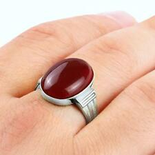Mens Ring Natural RED AGATE Gemstone in 925 STERLING SILVER for Man Handmade