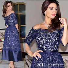 Vintage Lace Ankle Length Mother Of Bride Dress Blue Off Shoulder Half Sleeves