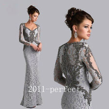 Gray Long Sleeve Mermaid Mother of the Bride Dress Beaded Arbia Long Form Gown