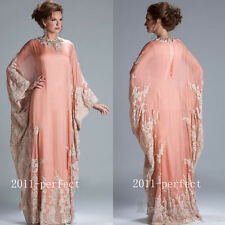 Lace Applique Arabic Formal Mother of the Bride Dress Cape Style Beaded Neck New