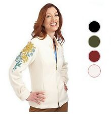 NWT BOB MACKIE'S Chrysanthemum Embroidered Zip Fleece Jacket Many Sizes 240445RM