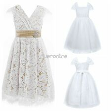Toddler Kid Girl Lace Floral V Neck Dress Princess Pageant Wedding Birthday New