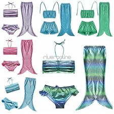 3PCS Girls Kids Mermaid Tail Swimnable Bikini Set Bathing Swimsuit Swimwear Suit