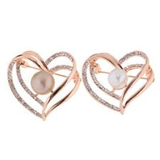 Charming Faux Pearl Crystal Heart Brooch Pin Wedding Bouquet Mother's Jewelry