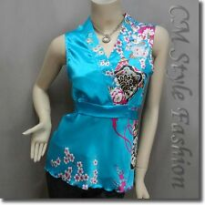 Japanese Kimono Sleeveless Floral Silky Satin Tank Top Blue S/M/L/XL/2XL/3XL