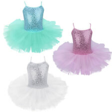 Kids Girls Shiny Sequins Ballet Dress Leotard Tutu Skirt Gym Dancewear Costume