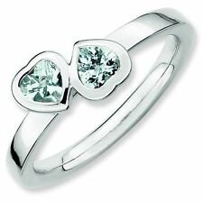 Aquamarine Double Heart Sterling Silver Stackable Ring