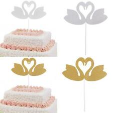 10pcs Swan Kissing Cake Topper Wedding Anniversary Party Cupcake Picks Decor