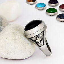 NEW Interchangeable Mens Ring Set with Multi-Gemstone in 925 Sterling Silver