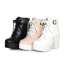 Ladies chunky heel round toe platform lace-up punk goth ankle boots Shoes All UK