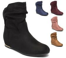 WOMENS BLACK ANKLE BOOTS LADIES FLAT PULL UP SLOUCH RIDING SHOES SIZE 3 - 8