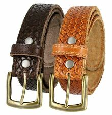Crossweave One Piece Double Stitched Edges Genuine Leather Casual Belt Brown Tan