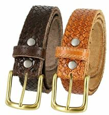 Crossweave One Piece Stitched Edges Leather Casual Belt Brown Tan Brass Buckle