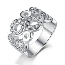Cute Womens Jewelry White Gold Plated Silver Clear Crystal Ring Size 6 7 8 9