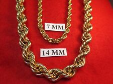 "24""-30"" HIP HOP 14 MM 14KT EP HEAVY RUN DMC HIP HOP  BLING ROPE CHAIN NECKLACE"
