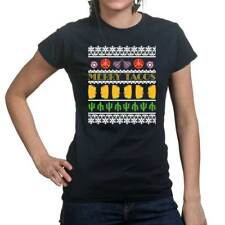 Merry Christmas Xmas Tacos Ugly Sweater Ladies T shirt Tee Top T-shirt