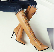 Womens Pointy Toe Stilettos Lace Up Fashion Knee High Boots High Heel Shoes