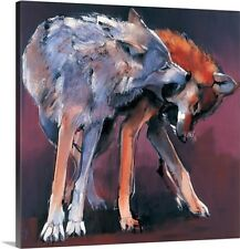 'Two Wolves, 2001 (oil on canvas)' by Mark Adlington Painting Print on Canvas