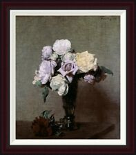 Global Gallery Vase of Flowers by Henri Fantin-Latour Framed Painting Print