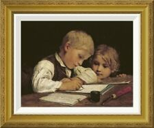 Global Gallery 'A Boy Writing' by Albert Anker Framed Painting Print