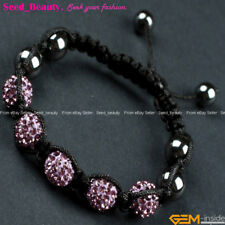 "10mm Pave Sparkle Rhinestone Crystal Disco Ball Beads Hand-woven Bracelet 6""-8"""