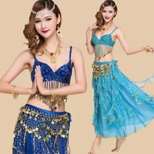 Belly Dance Costume Halter Bra Top Coin Hip Belt Skirt Hollywood Carnival Outfit