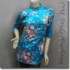 Chinese Cheongsam Qipao Style Floral Satin Tunic Top Blue XS/S/L/XL
