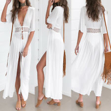 Boho Women V Neck Lace Crochet Hollow Out Long Maxi Shirt Dress Beach Sundress