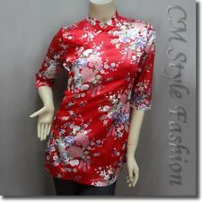 Chinese Cheongsam Qipao Style Floral Satin Tunic Top Red XS/S/L/XL