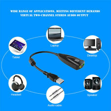 USB 2.0 External 7.1 Channel Virtual Audio Sound Card Mic Adapter For PC Laptop