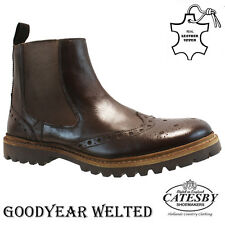 MENS LEATHER GOODYEAR WELTED CHELSEA DEALER BROGUE ANKLE FORMAL WORK BOOTS SIZE