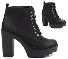 WOMENS LADIES CHUNKY PLATFORM CHELSEA HIGH BLOCK HEEL SHOES ANKLE BOOTS SIZE 3-8