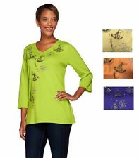 NEW QUACKER FACTORY Witch's Brew Embellished 3/4 Sleeve T-shirt 240596RM