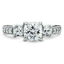 BERRICLE Sterling Silver Cushion CZ 3-Stone Promise Engagement Ring 2.34 Carat