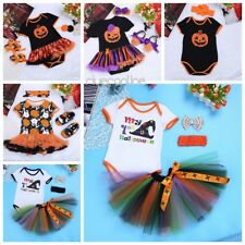US Newborn Baby Girl Outfit Romper Jumpsuit Bodysuit Tutu Skirt Headband Clothes