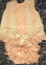 DREAM BABY GIRLS SPANISH PINK GUIPURE  ANGEL TOP & FRILLY KNICKERS 0 TO 2YEARS