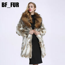 Women's 100% Genuine Rabbit Fur Jacket Fashion Big Raccoon Fur Collar Coat C0129