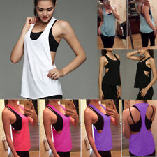 Womens Yoga Gym Sports Tank Tops Camisole Active Stretch Sleeveless