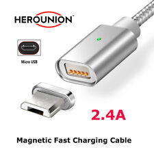 2.4A Magnetic Micro USB Charger Fast Data Charging Cable For Samsung Phones Lot