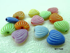 10x11mm 35/70pcs FROSTED ASSORTED COLORS ACRYLIC HEART BEADS MY7048