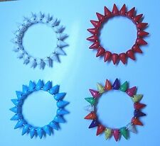 Ladies STRETCH Bracelet Rock Punk Cone Studs Spike Rivets,Ivory,Turq,Red,&Mult