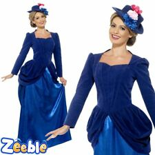 Womens Blue Victorian Nanny Costume Fancy Dress Ladies Teachers Book Week Outfit