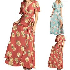 Floral Print Ruffled Short Sleeve Wrap Maxi Dress with String Tie Detail S M L