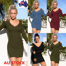 Women V Neck Off Shoulder Bodycon Long Sleeve Loose Dress Evening Party Dress