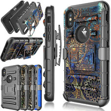 For iPhone X Phone Case Hybrid Case Belt Clip Holster Kickstand TPU Hard Cover
