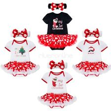 Newborn Baby Girl Romper Christmas Costume Tutu Dress Bodysuit Outfit Headband