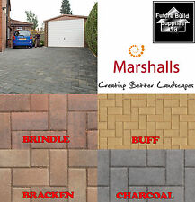 Marshalls Standard Block Paving 200mmx100mmx50mm Brindle Buff Bracken Charcoal