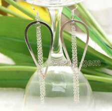 SALE Fashion 22*50mm White metal Drop and long 2.5'' chain Dangle Earring-ear626