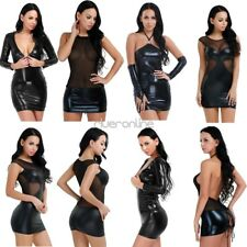 Sexy Womens Shiny Wetlook Leather Bodycon Party Dress Mini Dress Clubwear Black